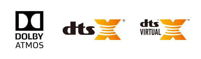 Dolby AtmosとDTS:X、DTS:VIRTUAL-Xに対応
